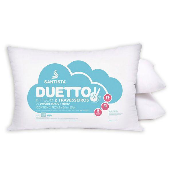 Kit travesseiro 2 peças Duetto suporte médio Santista