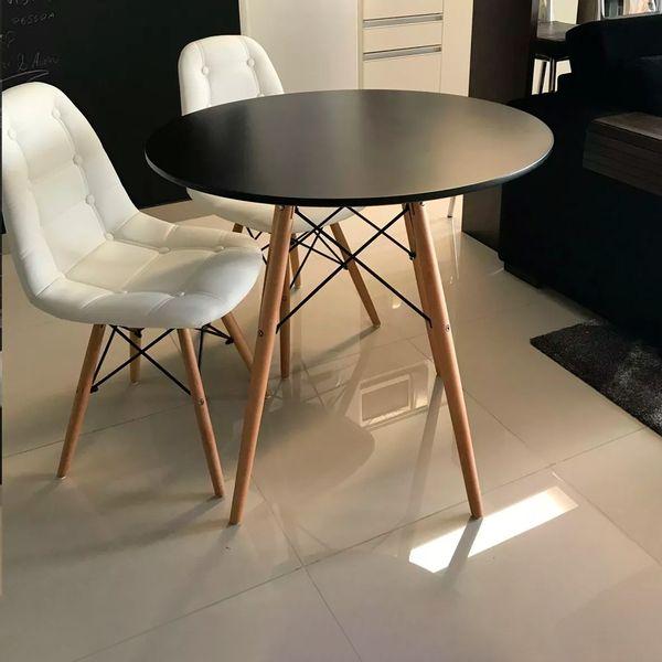Mesa redonda estilo madeira - preta 80x72cm DCasa